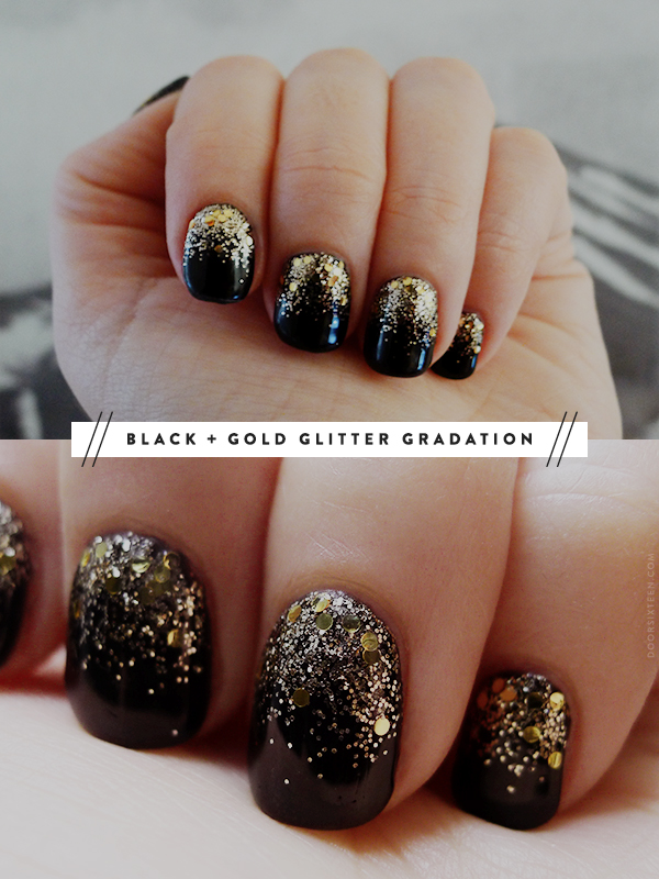 Dorable Black Glittery Nails Picture Gift - Nail Art Ideas ...